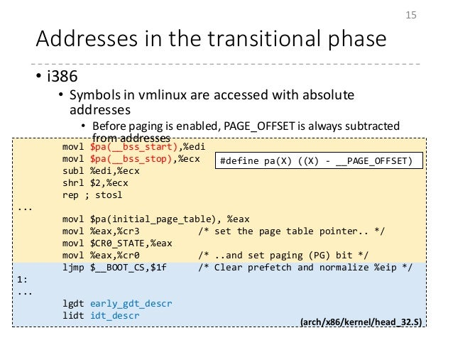 Addresses in the transitional phase • i386 • Symbols in vmlinux are accessed with absolute addresses • Before paging is en...
