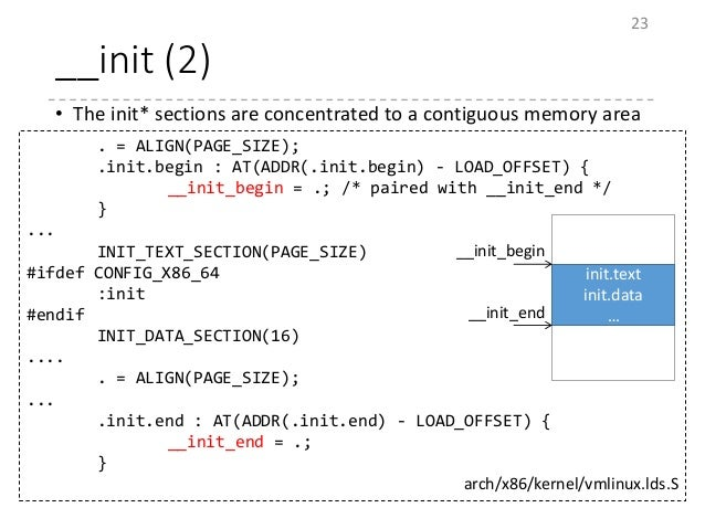 __init (2) • The init* sections are concentrated to a contiguous memory area 23 . = ALIGN(PAGE_SIZE); .init.begin : AT(ADD...