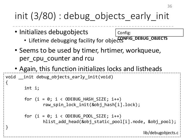 init (3/80) : debug_objects_early_init • Initializes debugobjects • Lifetime debugging facility for objects • Seems to be ...