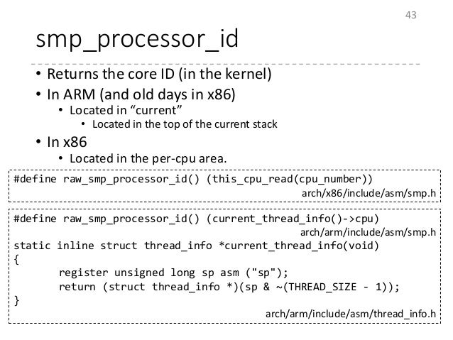 """smp_processor_id • Returns the core ID (in the kernel) • In ARM (and old days in x86) • Located in """"current"""" • Located in ..."""
