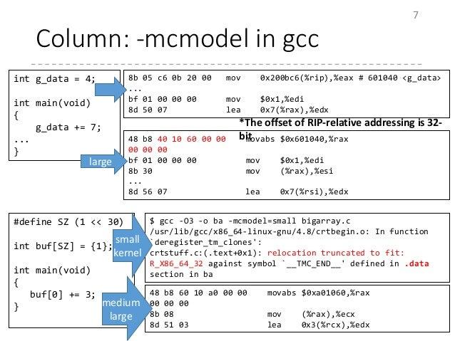 Column: -mcmodel in gcc 7 int g_data = 4; int main(void) { g_data += 7; ... } 8b 05 c6 0b 20 00 mov 0x200bc6(%rip),%eax # ...