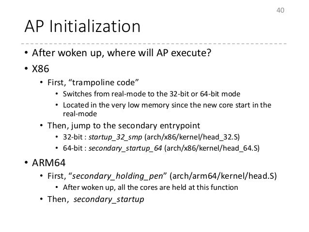 """AP Initialization • After woken up, where will AP execute? • X86 • First, """"trampoline code"""" • Switches from real-mode to t..."""