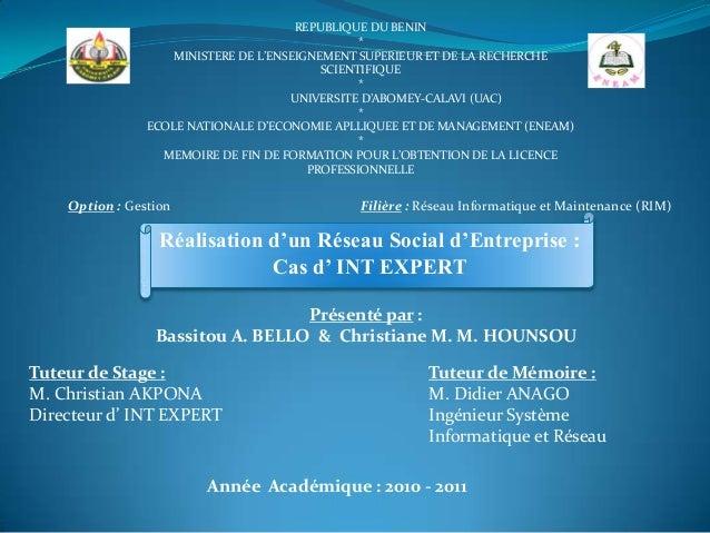 REPUBLIQUE DU BENIN                                                 *                    MINISTERE DE L'ENSEIGNEMENT SUPER...
