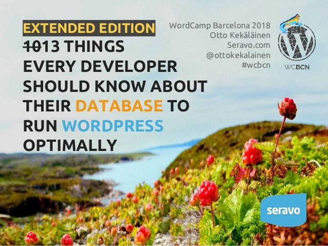 EXTENDED EDITION 1013 THINGS EVERY DEVELOPER SHOULD KNOW ABOUT THEIR DATABASE TO RUN WORDPRESS OPTIMALLY WordCamp Barcelon...