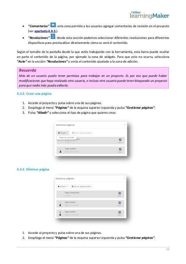 """12  """"Comentarios"""" : esta zona permite a los usuarios agregar comentarios de revisión en el proyecto (ver apartado 4.8.3.)..."""