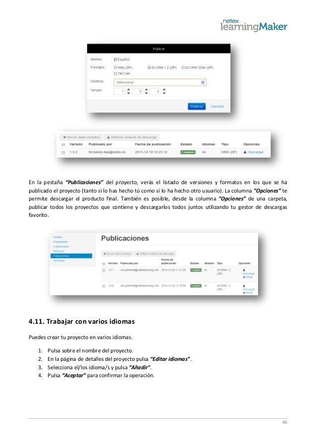 """46 En la pestaña """"Publicaciones"""" del proyecto, verás el listado de versiones y formatos en los que se ha publicado el proy..."""