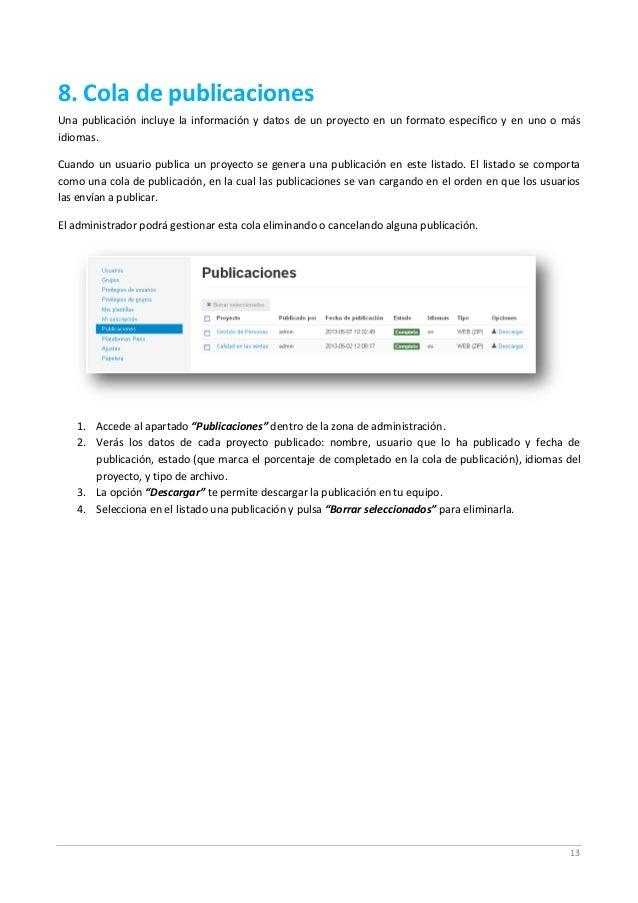 13 8. Cola de publicaciones Una publicación incluye la información y datos de un proyecto en un formato específico y en un...