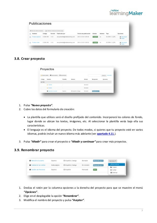 """7 3.8. Crear proyecto 1. Pulsa """"Nuevo proyecto"""". 2. Cubre los datos del formulario de creación:  La plantilla que utilice..."""