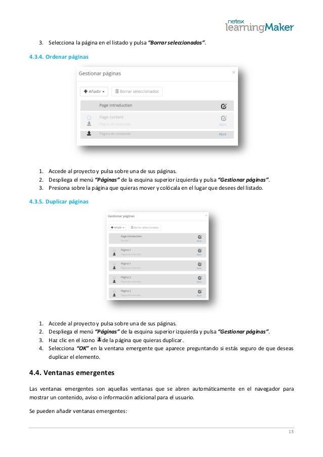 """13 3. Selecciona la página en el listado y pulsa """"Borrar seleccionados"""". 4.3.4. Ordenar páginas 1. Accede al proyecto y pu..."""