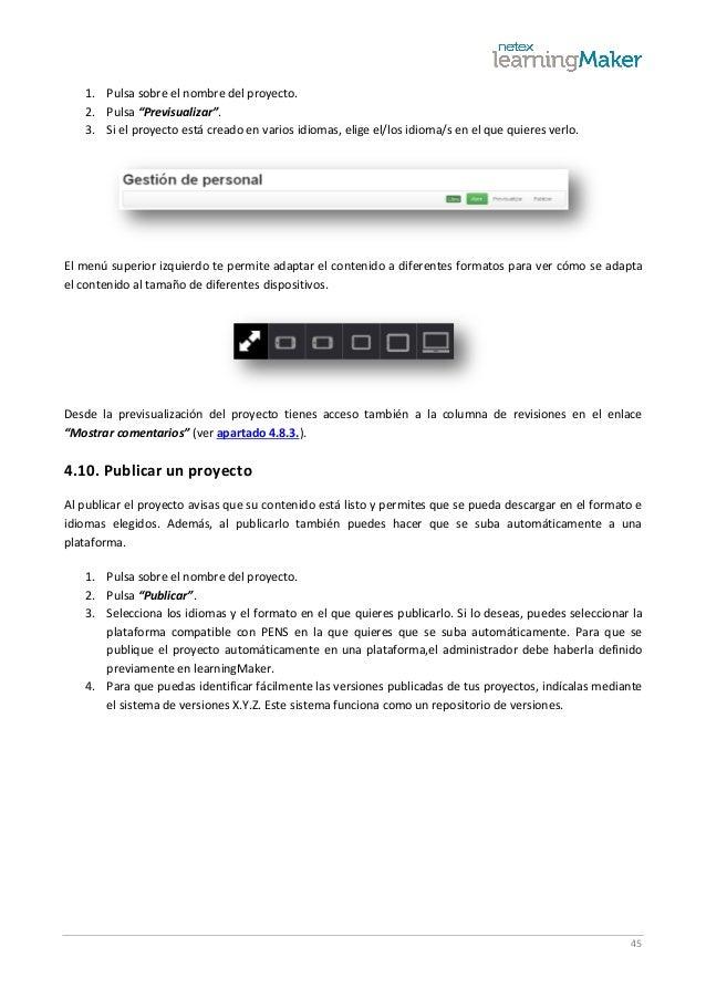 """45 1. Pulsa sobre el nombre del proyecto. 2. Pulsa """"Previsualizar"""". 3. Si el proyecto está creado en varios idiomas, elige..."""