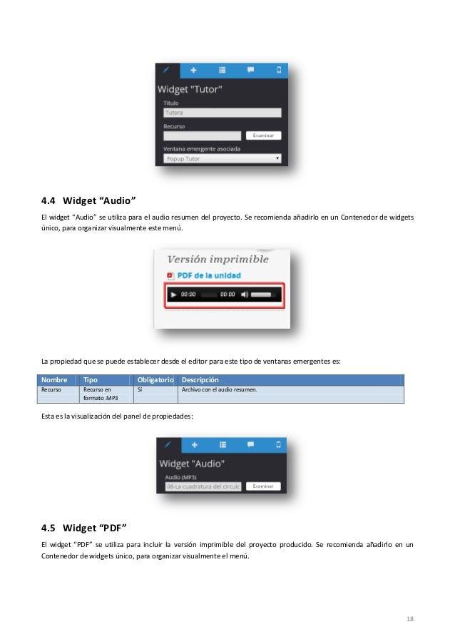 """18 4.4 Widget """"Audio"""" El widget """"Audio"""" se utiliza para el audio resumen del proyecto. Se recomienda añadirlo en un Conten..."""
