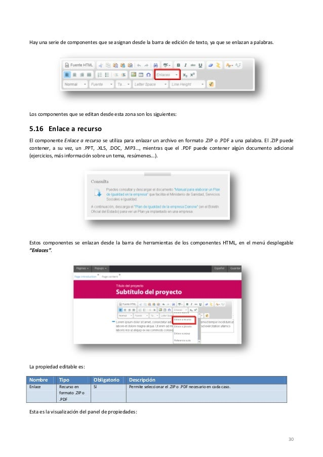 30 Hay una serie de componentes que se asignan desde la barra de edición de texto, ya que se enlazan a palabras. Los compo...