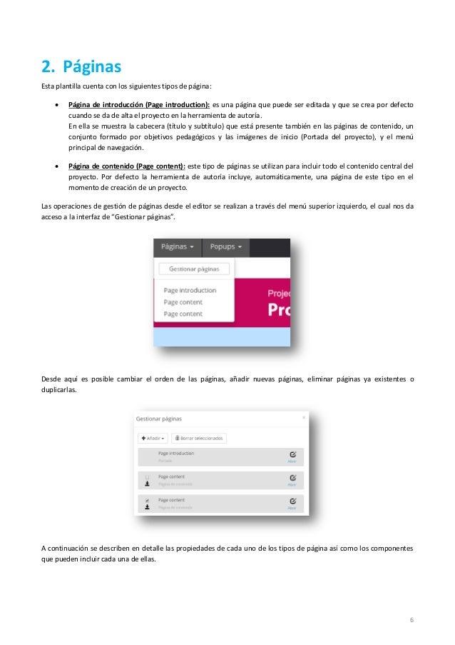 6 2. Páginas Esta plantilla cuenta con los siguientes tipos de página:  Página de introducción (Page introduction): es un...