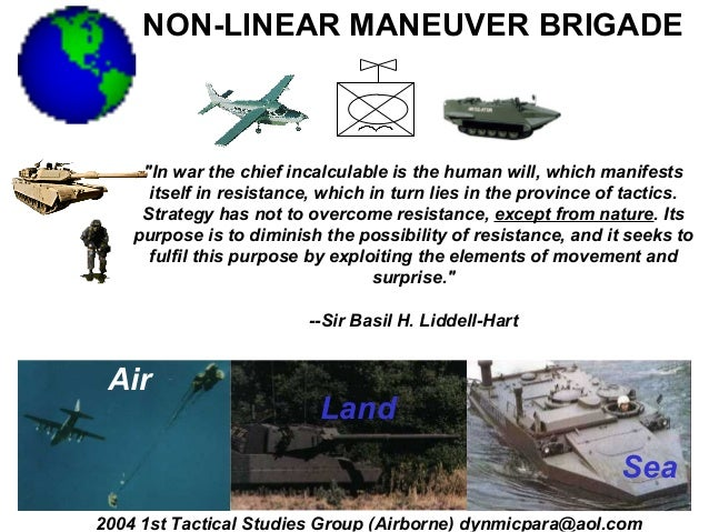 """NON-LINEAR MANEUVER BRIGADE     """"In war the chief incalculable is the human will, which manifests      itself in resistanc..."""