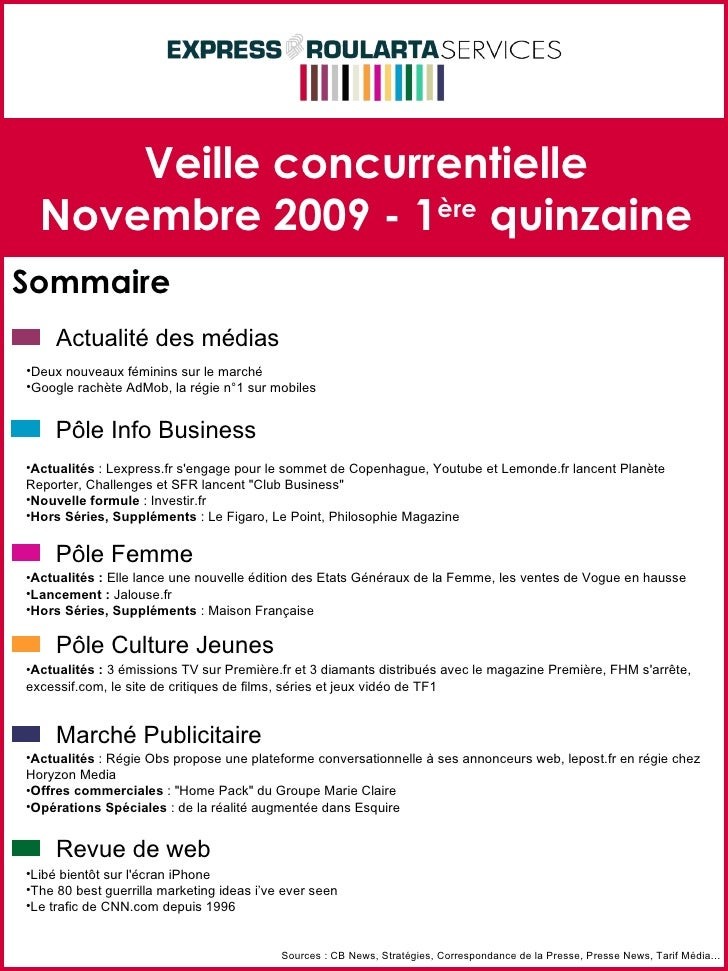 Veille concurrentielle Novembre 2009 - 1 ère  quinzaine Sommaire Sources : CB News, Stratégies, Correspondance de la Press...