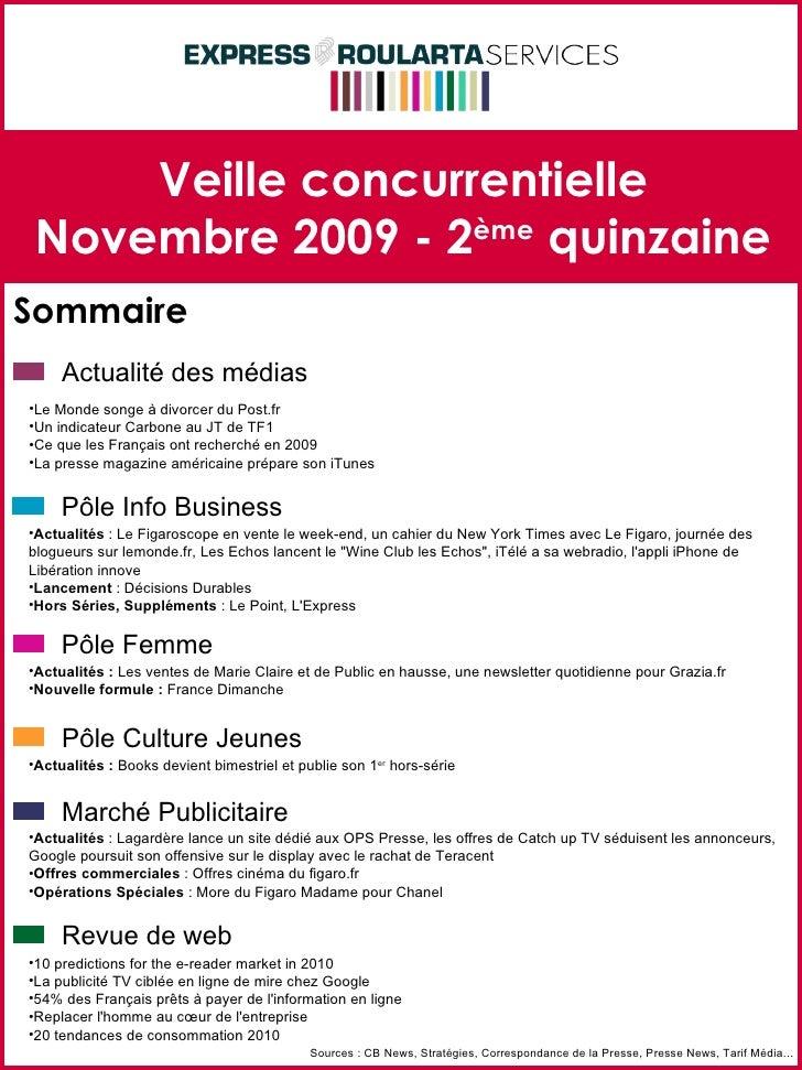 Veille concurrentielle Novembre 2009 - 2 ème  quinzaine Sommaire Sources : CB News, Stratégies, Correspondance de la Press...