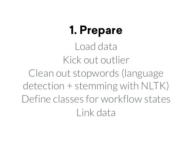 1. Prepare Load data Kick out outlier Clean out stopwords (language detection + stemming with NLTK) Define classes for wor...