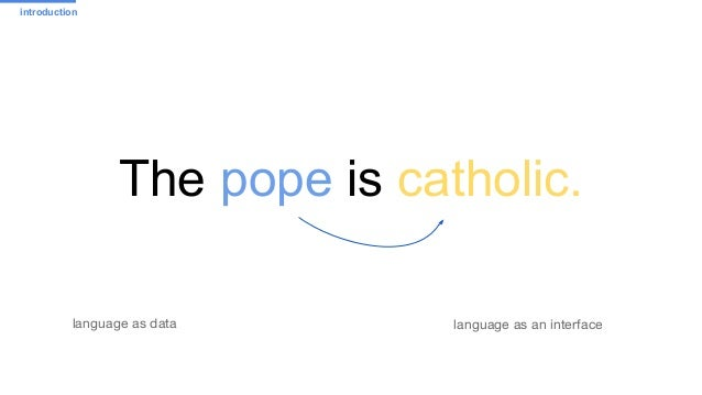 The pope is catholic. language as an interfacelanguage as data introduction