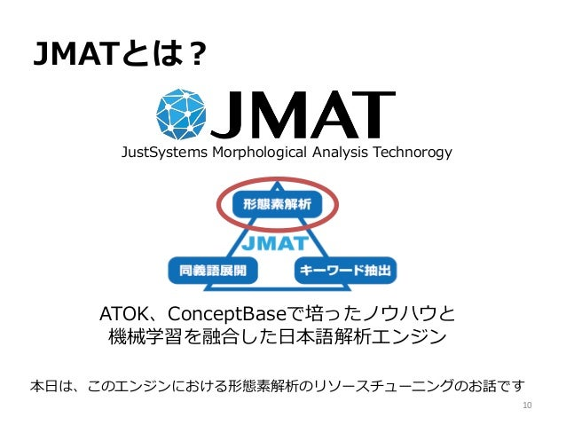 JMATとは? JustSystems Morphological Analysis Technorogy ATOK、ConceptBaseで培ったノウハウと 機械学習を融合した日本語解析エンジン 本日は、このエンジンにおける形態素解析のリソー...