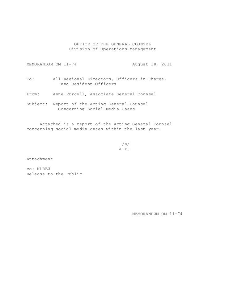 OFFICE OF THE GENERAL COUNSEL                   Division of Operations-ManagementMEMORANDUM OM 11-74                      ...