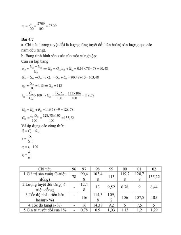 4 5 2709 27.09 100 100 y c = = = Bài 4.7 a. Chỉ tiêu lượng tuyệt đối là lượng tăng tuyệt đối liên hoàn( sản lượng qua các ...