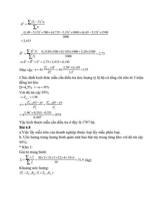 2 2 2 2 2 ( ) (1,49 5,15) 500 (4,735 5,15) 1000 (6,65 5,15) 1500 3000 3,415 i i i x x n n δ − = − × + − × + − × = = ∑ ∑ 2 ...