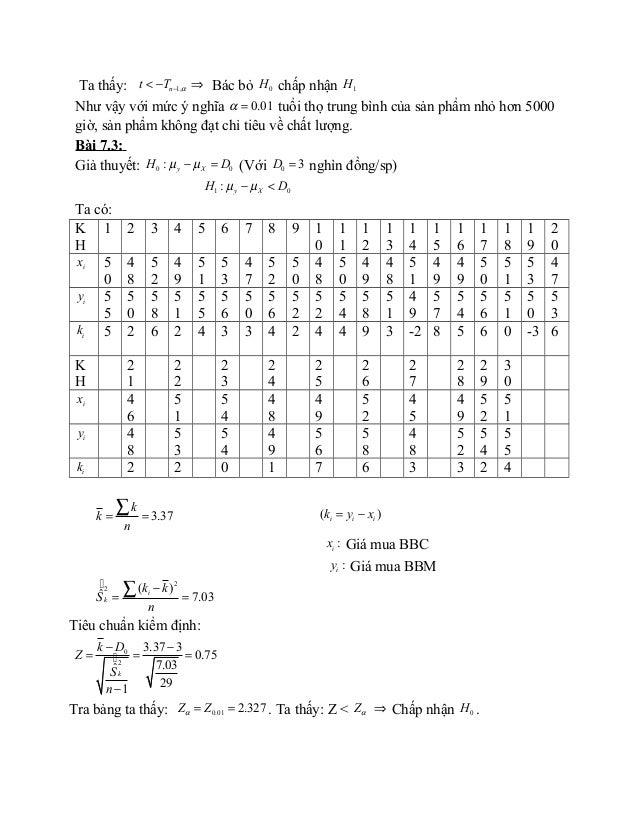 Ta thấy: 1,nt T α−< − ⇒ Bác bỏ 0H chấp nhận 1H Như vậy với mức ý nghĩa 0.01α = tuổi thọ trung bình của sản phẩm nhỏ hơn 50...
