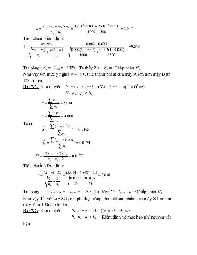 3 3 3w w 3 10 1000 2 10 1500 w 2.10 1000 1500 A A B B A B n n x n n − − −× + × × + × × = = = + + Tiêu chuẩn kiểm định: w -...
