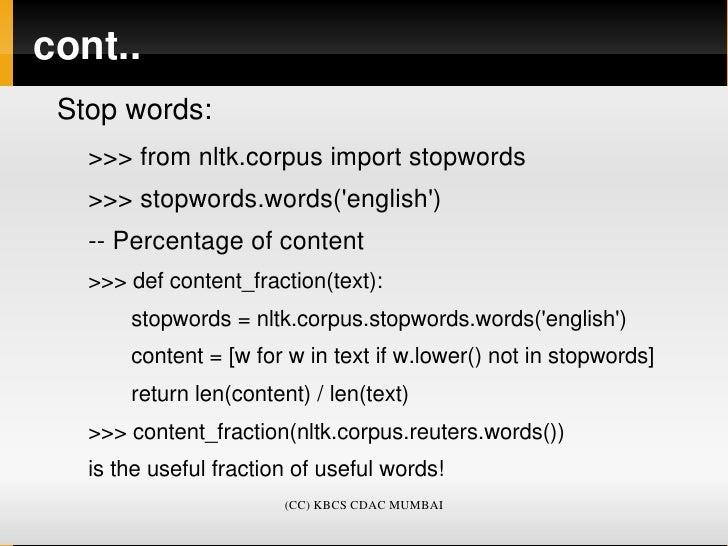 Natural Language Toolkit (NLTK), Basics