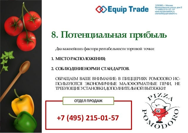 8. Потенциальная прибыль Два важнейших факторарентабельности торговой точки: 1. МЕСТОРАСПОЛОЖЕНИЯ; 2. СОБЛЮДЕНИЕНОРМИ СТАН...