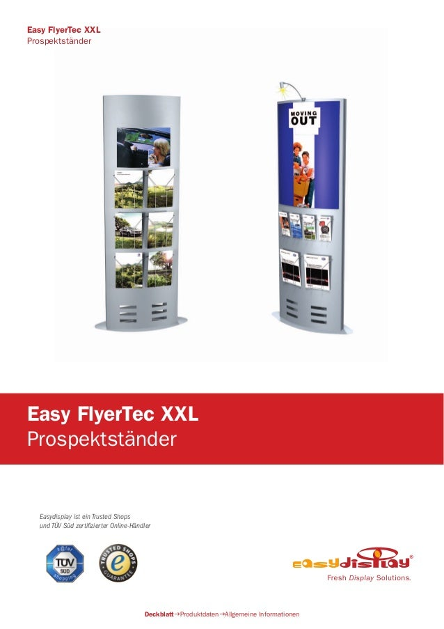 Easydisplay ist ein Trusted Shops und TÜV Süd zertifizierter Online-Händler Easy FlyerTec XXL Prospektständer DeckblattPr...