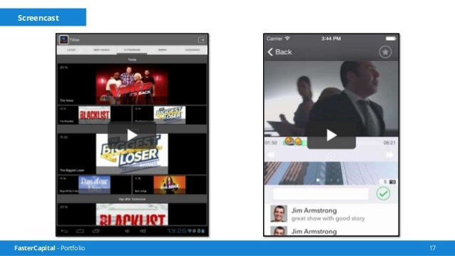 FasterCapital - Portfolio 18 Comment feed Menu to choose between channels and shows Seek bar that has emoticons pressed by...