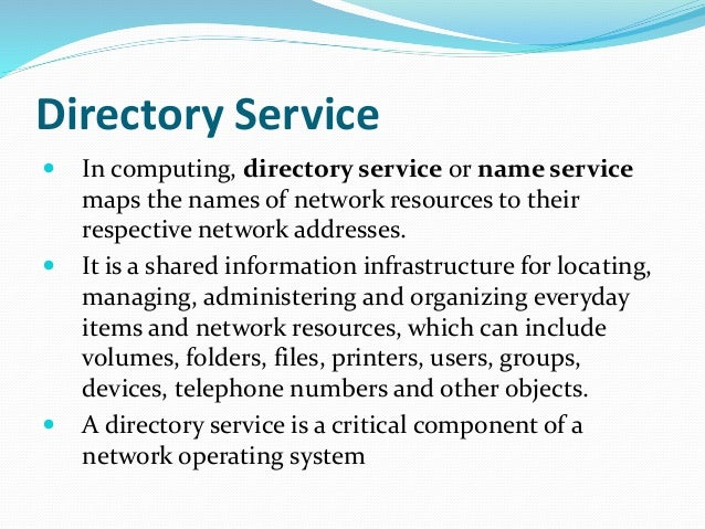network administration directory access and remote access