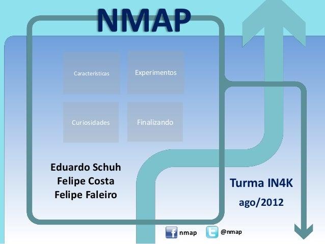 ExperimentosCaracterísticas NMAP Eduardo Schuh Felipe Costa Felipe Faleiro Turma IN4K ago/2012 nmap @nmap Curiosidades Fin...