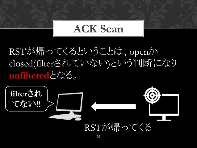 ACK Scan 20 RSTが帰ってくる RSTが帰ってくるということは、openか closed(filterされていない)という判断になり unfilteredとなる。 filterされ てない!!
