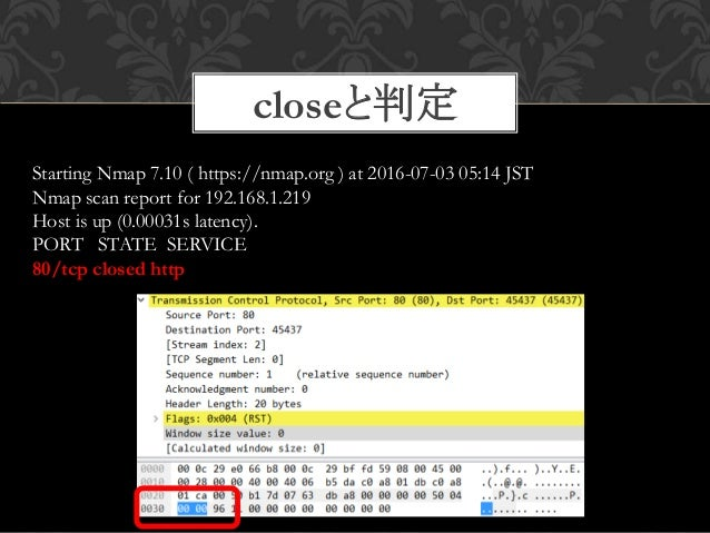 closeと判定 28 Starting Nmap 7.10 ( https://nmap.org ) at 2016-07-03 05:14 JST Nmap scan report for 192.168.1.219 Host is up ...