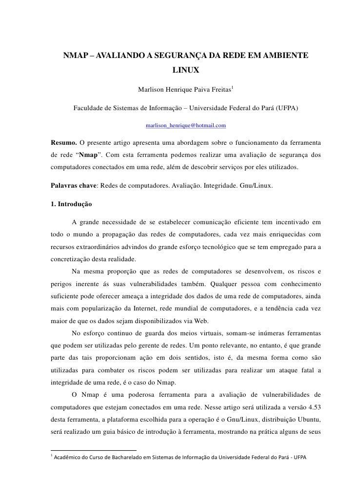 NMAP – AVALIANDO A SEGURANÇA DA REDE EM AMBIENTE                                                   LINUX                  ...