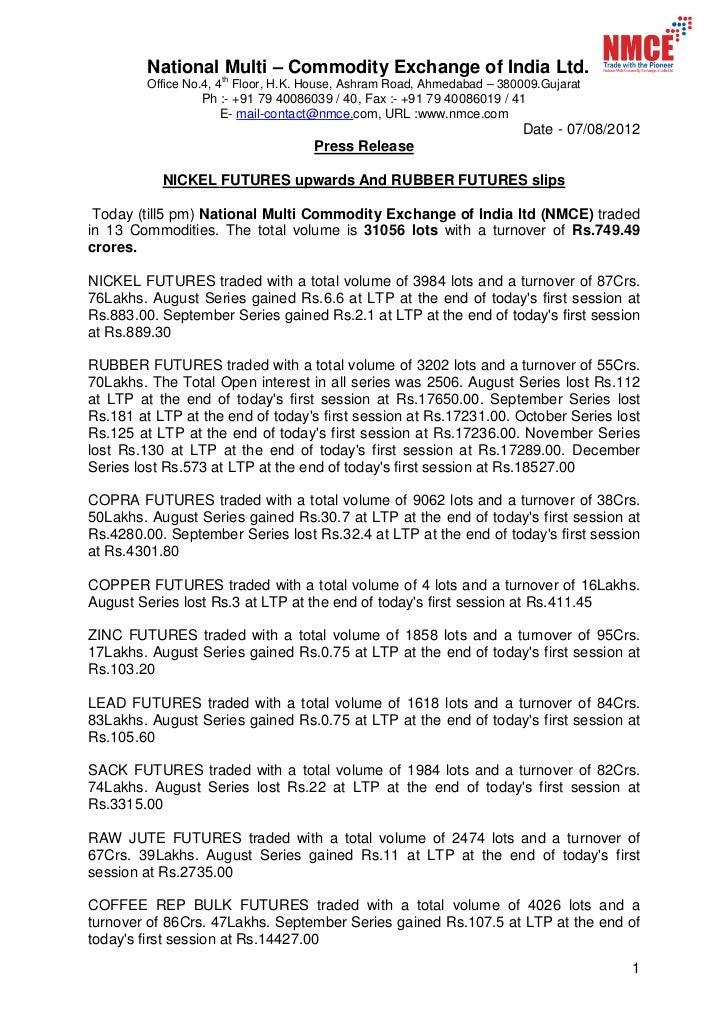 National Multi – Commodity Exchange of India Ltd.                     th         Office No.4, 4 Floor, H.K. House, Ashram ...