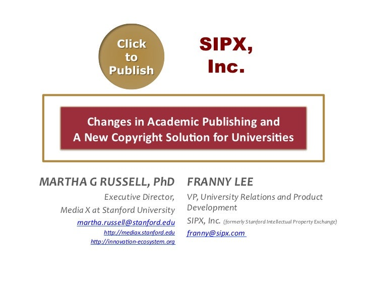 SIPX,                                                                  Inc.               Changes in Academic Publis...