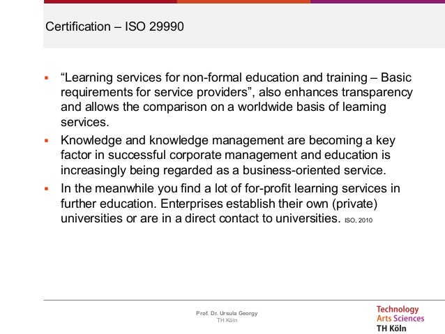 Ursula Georgy - Continuing Education Certification in LIS: ISO 9001 a…