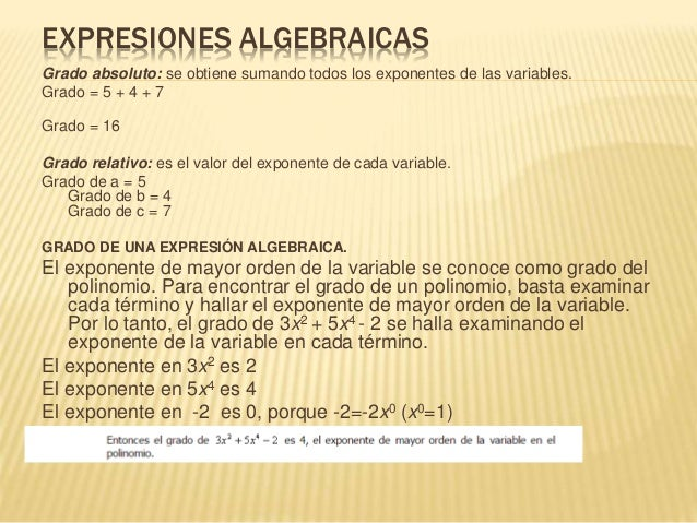 EXPRESIONES ALGEBRAICAS Grado absoluto: se obtiene sumando todos los exponentes de las variables. Grado = 5 + 4 + 7 Grado ...