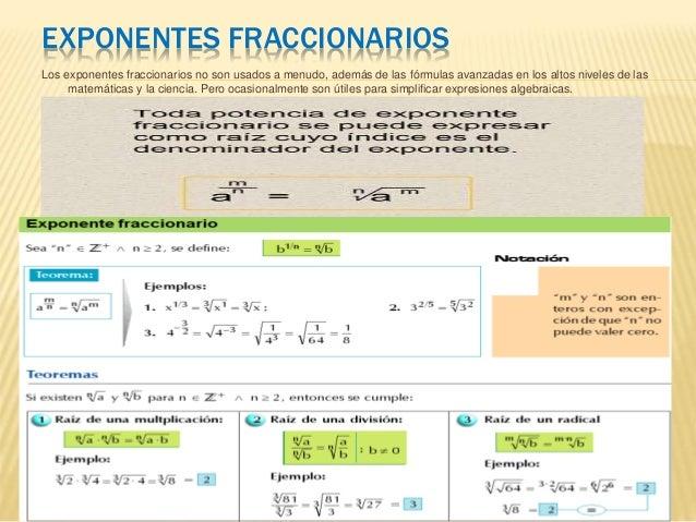EXPONENTES FRACCIONARIOS Los exponentes fraccionarios no son usados a menudo, además de las fórmulas avanzadas en los alto...