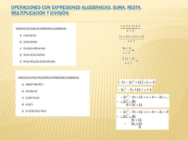 OPERACIONES CON EXPRESIONES ALGEBRAICAS, SUMA, RESTA, MULTIPLICACIÓN Y DIVISIÓN.