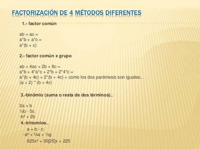 FACTORIZACIÓN DE 4 MÉTODOS DIFERENTES 1.- factor común ab + ac = a*b + a*c = a*(b + c) 2.- factor común x grupo ab + 4ac +...