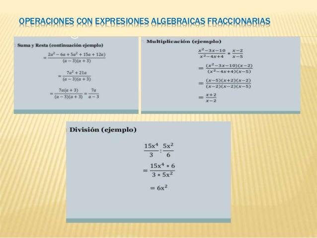 OPERACIONES CON EXPRESIONES ALGEBRAICAS FRACCIONARIAS