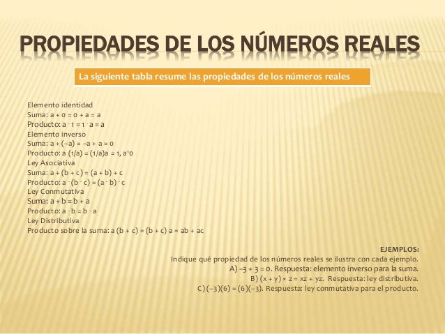 PROPIEDADES DE LOS NÚMEROS REALES Elemento identidad Suma: a + 0 = 0 + a = a Producto: a . 1 = 1 . a = a Elemento inverso ...