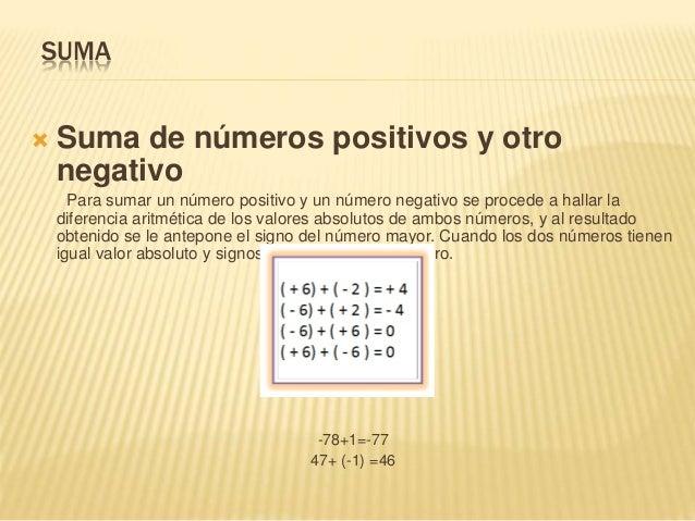 SUMA  Suma de números positivos y otro negativo Para sumar un número positivo y un número negativo se procede a hallar la...