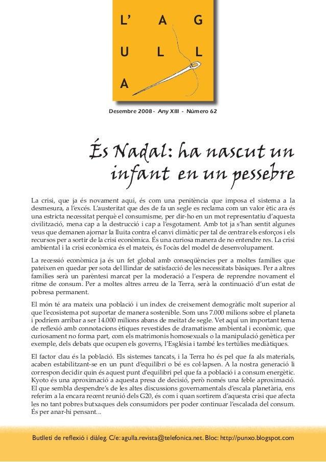 L' A G U L L A Desembre 2008 - Any XIII - Número 62 És Nadal: ha nascut un infant en un pessebre La crisi, que ja és nova...