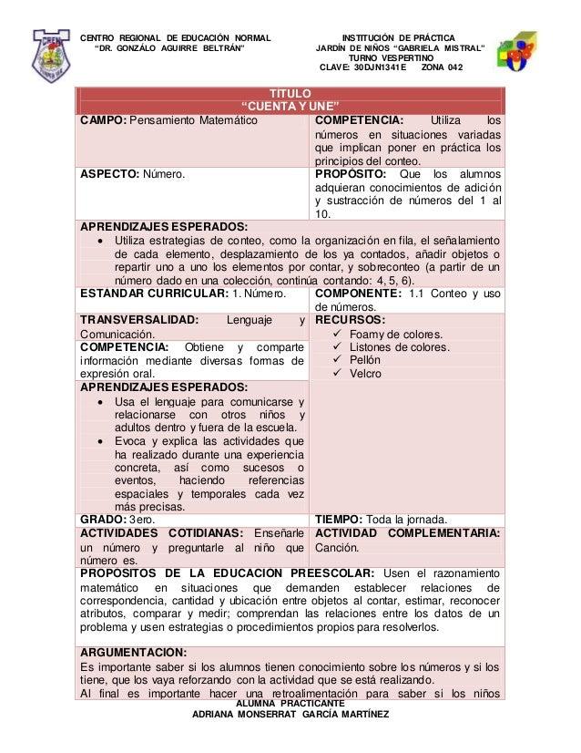 """CENTRO REGIONAL DE EDUCACIÓN NORMAL INSTITUCIÓN DE PRÁCTICA """"DR. GONZÁLO AGUIRRE BELTRÁN"""" JARDÍN DE NIÑOS """"GABRIELA MISTRA..."""