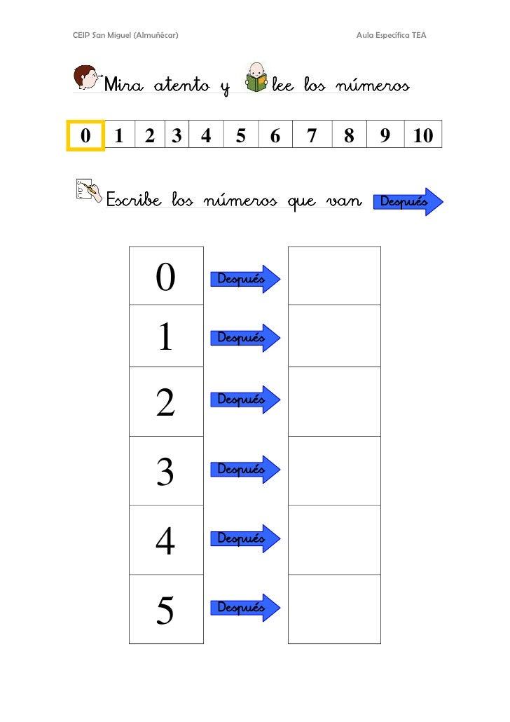 CEIP San Miguel (Almuñécar)                   Aula Específica TEA       Mira atento y              lee los números 0      ...